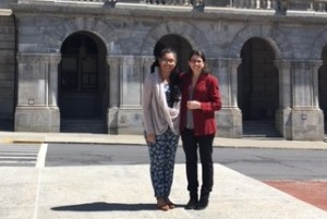 Cinthia Castro and Dr. Vera Antonios in front of the NY State Capitol