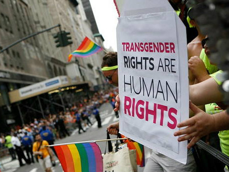 "Sign reading ""transgender rights are human rights"""