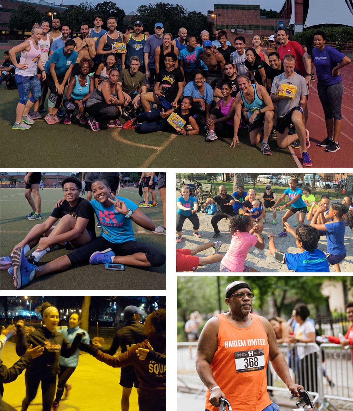 Photo collage featuring runners of various ages, genders, skin colors, and body shapes running, walking, working out, and relaxing together