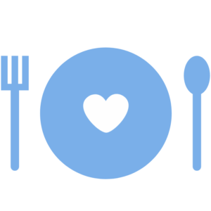 Icon of blue flork, spoon, and plate with a white heart in the center