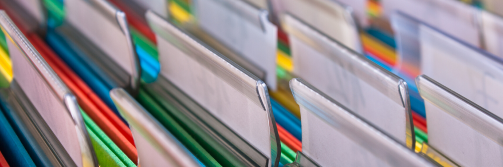 Close up of multicolored file folders