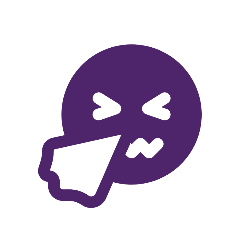 Icon of face blowing nose