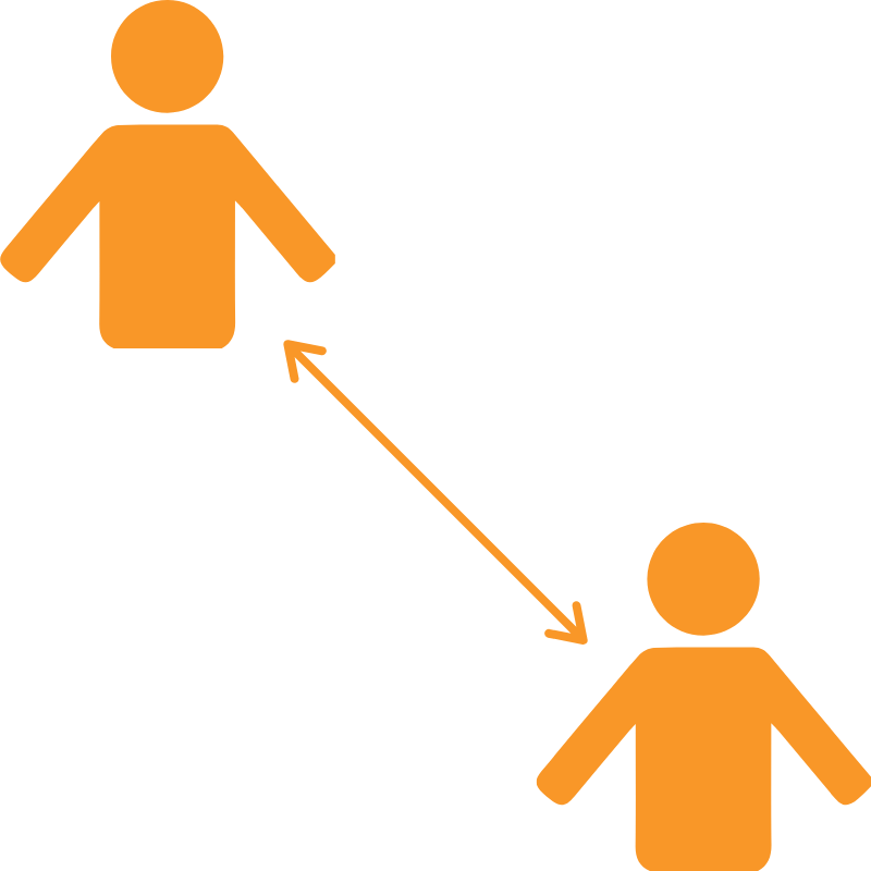 two orange icons of people with arrow between them signifying distnace