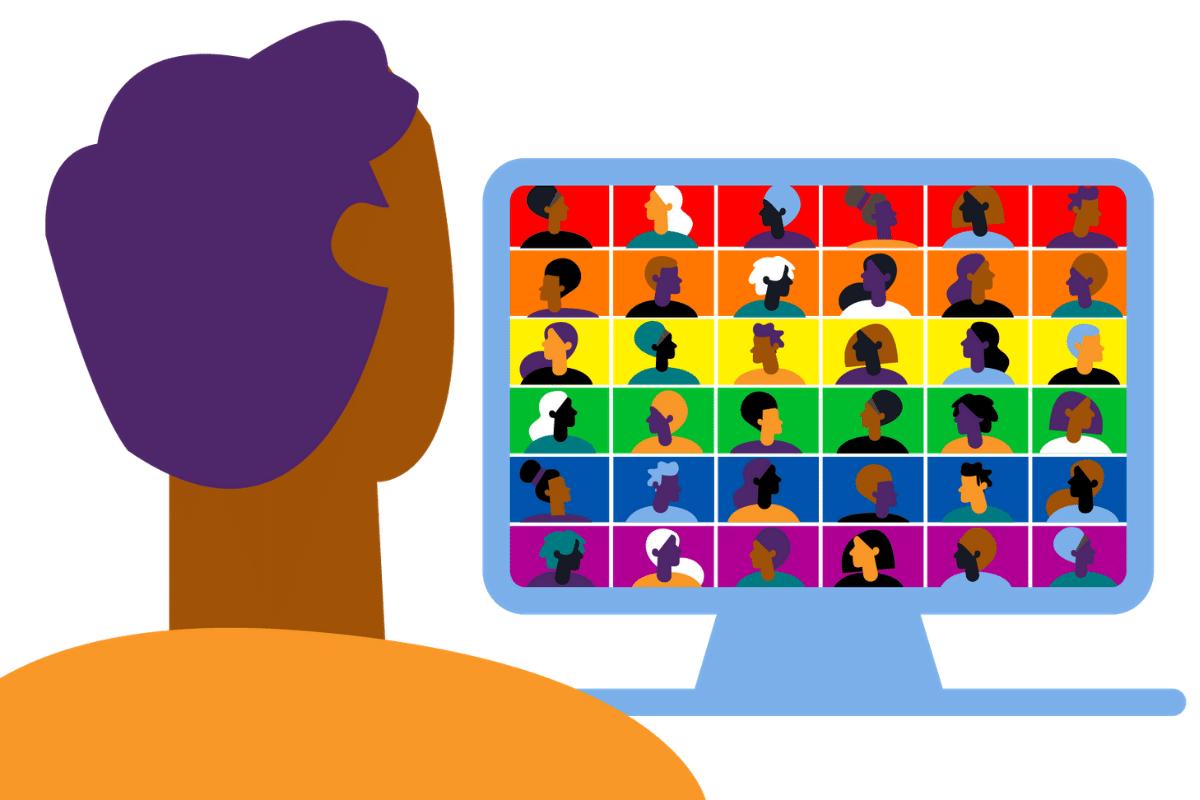 Illustration of virtual pride event